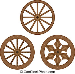 oud, houten, wielen