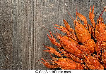 oud, houten, worstelen, twee, crayfishes, tafel, rood