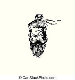 oud, illustratie, man, vector, mustache, baard