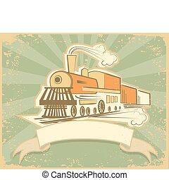 oud, illustratie, stoom, vector, engine., locomotief