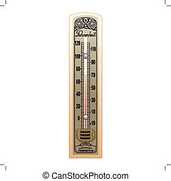 oud, illustratie, thermometer