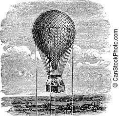 oud, illustration., ouderwetse , balloon, aerostat, lucht,...