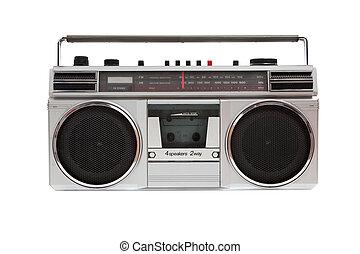 oud, jambox, op, een, witte achtergrond