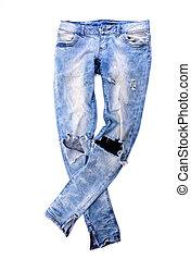 oud, jeans, broek
