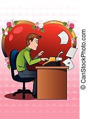 oud, jonge, schrijvende brief, gebruik, liefde, man, typemachine