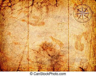 oud, kaart, met, een, kompas, op, informatietechnologie