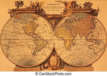 oud, kaart, van, de wereld