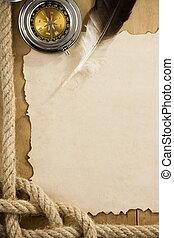 oud, kabels, papier, kompas, scheeps , perkament