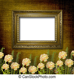oud, kamer, grunge, interieur, met, frame, in, stijl, barok