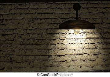 oud, kamer, muur, licht, drie, stippen, interieur, baksteen