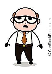 oud, kantoor, -, illustratie, baas, vector, retro, doodsbang, spotprent, man