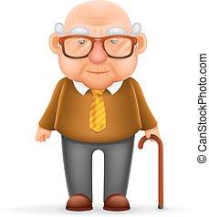 oud, karakter, vrijstaand, grootvader, realistisch, vector, ontwerp, illustrator, 3d, spotprent, man