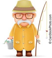 oud, karakter, vrijstaand, illustratie, grootvader, realistisch, vector, visser, ontwerp, spotprent, 3d