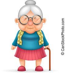 oud, karakter, vrijstaand, realistisch, vector, ontwerp, oma, illustrator, dame, spotprent, 3d