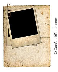 oud, karton, kaart, en, een, oud, foto