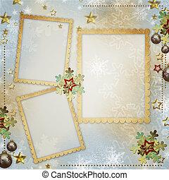 oud, kerstmis, begroetende kaart