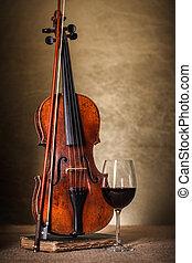 oud, klassiek, glas, viool, rode wijn