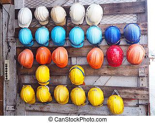 oud, kleurrijke, bouwsector, helmen