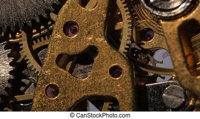 oud, klok, binnen, op, mechanism., afsluiten