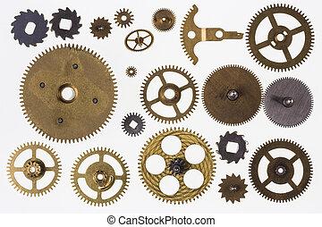 oud, klok, cogs, -, vrijstaand, clockwork, onderdelen