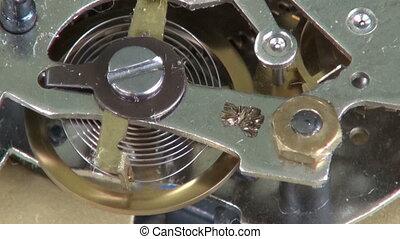 oud, klok, metaal, toestellen, wielen, analoog