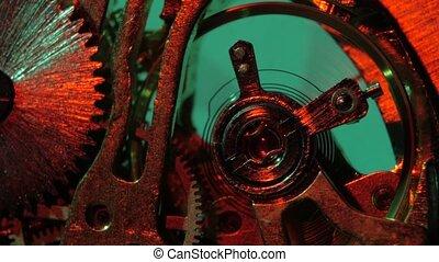 oud, klok, op, mechanism., toestellen, afsluiten