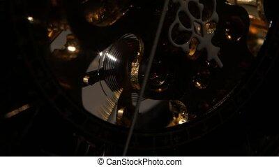 oud, klok, op, mechanism., toestellen, stopwatch, afsluiten