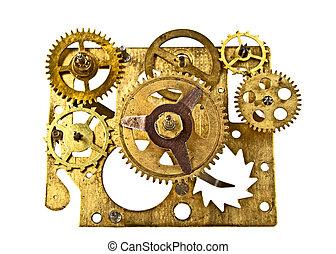oud, klok, op, mechanisme, vrijstaand, achtergrond, toestellen, afsluiten, witte