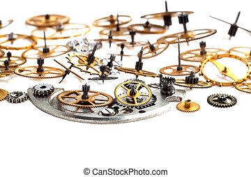 oud, klok, vrijstaand, mechanisme, toestellen, achtergrond, witte