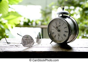 oud, klok, wekker, venster, backlit
