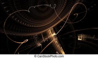 oud, klokken samenstel van bewegende delen, gouden, ontmoete