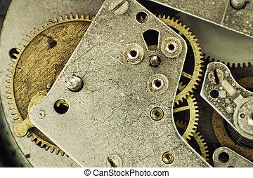 oud, klokken samenstel van bewegende delen, toestellen, taken, closeup.