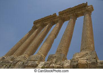 oud, kolommen, baalbeck, libanon