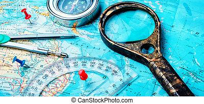 oud, kompas, op, ouderwetse , kaart