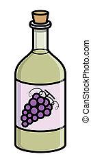 oud, -, kurk, vector, fles, wijntje