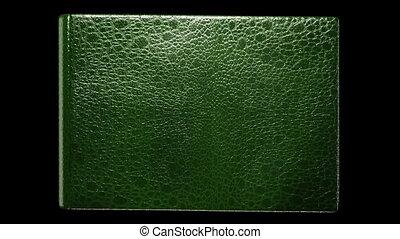 oud, leeg, groene, boek, met, het wegknippen