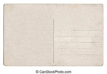 oud, lege, postkaart, vrijstaand, op wit