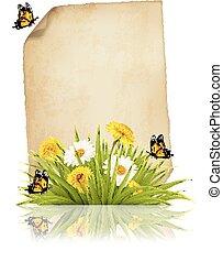 oud, lente, papier, butterflies., blad, bloemen