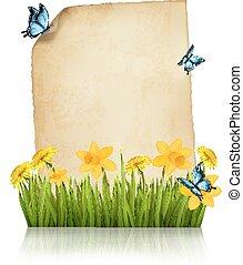 oud, lente, papier, vector., butterflies., blad, bloemen