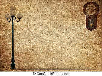 oud, licht, lamp, papier, pool, straat, grunge, straat