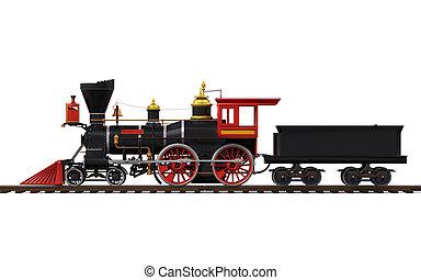 oud, locomotief, trein