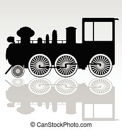 oud, locomotief, vector, illustratie
