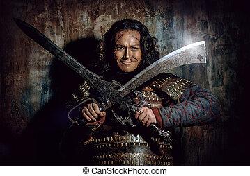 oud, mannelijke , strijder, in, harnas, vasthouden, sword., historisch, character., fantasy.