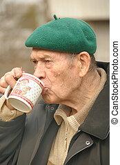 oud, mannen, drinkt