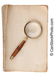oud, manuscript, met, loupe
