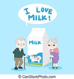 oud, melk, mensen