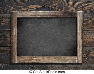 oud, menu, bord, hangend, houten muur, 3d, illustratie
