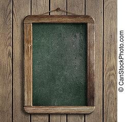 oud, menu, bord, hangend, houten muur