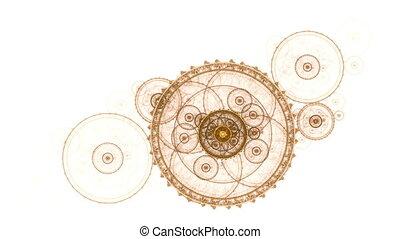oud, metaal, de wielen van het toestel, ronddraaien