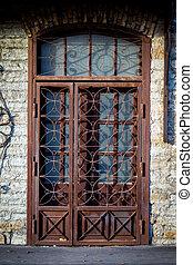 oud, metaal, deur